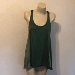 Silk and knit racer back tank